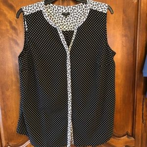 Talbots dots and flowers sleeveless top